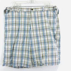 Tasso Elba Mens Sz 36 Golf Shorts Plaid Blue Tan